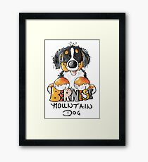 Cute Bernese Mountain Dog Puppy - Dogs - Comic - Gift Framed Print
