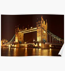 Tower Bridge At Night, London, United Kingdom Poster