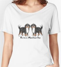 Two funny Bernese Mountain Dogs - Dog - Comic - Gift - Funny Women's Relaxed Fit T-Shirt