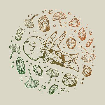 Triceratops Rocks! | Leaf Green & Pumpkin Spice Ombré by OMEGAFAUNA