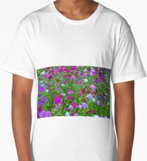 Digital Art with fine brush strokes, Dianthus chinensis  Long T-Shirt