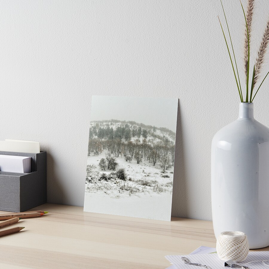 WINTER SERIES Snowy Hill and Trees Art Board Print