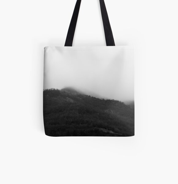 Foggy Mountains All Over Print Tote Bag