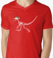 Merry Christmas Raptor - White w/ Green Hat Men's V-Neck T-Shirt