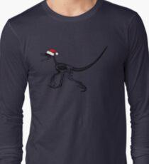Merry Christmas Raptor - Black w/ Red Hat Long Sleeve T-Shirt