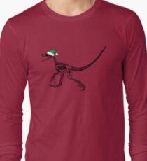 Merry Christmas Raptor - Black w/ Green Hat Long Sleeve T-Shirt