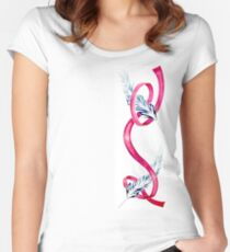Feather Wrapped Ribbon Women's Fitted Scoop T-Shirt