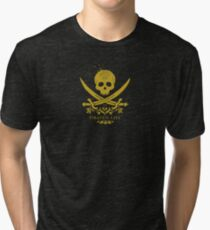Pirate's Life logo Golden Damask Skull Tri-blend T-Shirt