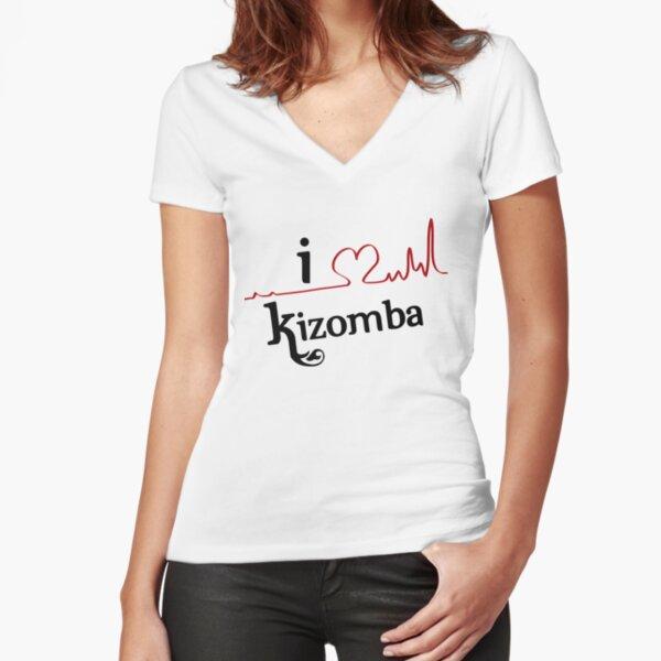Amo a Kizomba Camiseta entallada de cuello en V