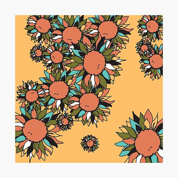 Psychedelic Sunflowers Photographic Print