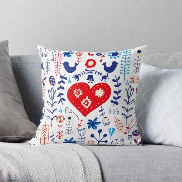 Scandi folk floral white Throw Pillow