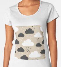 Rainy clouds black and white Women's Premium T-Shirt