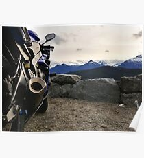 Motorcycles and Mountains Poster