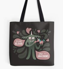 Spooky and cute vampire monster with unicorn Tote Bag