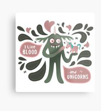 Spooky and cute vampire monster with unicorn Metal Print