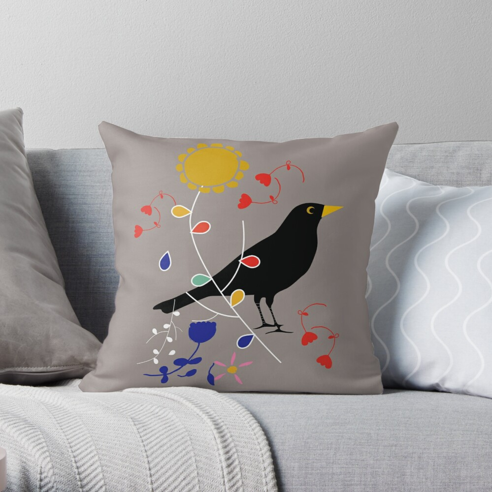 Black bird grey Throw Pillow