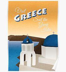 Greece Vintage Travel Poster Poster