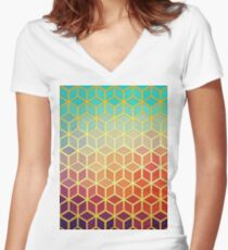 Mosaic with sunset Women's Fitted V-Neck T-Shirt