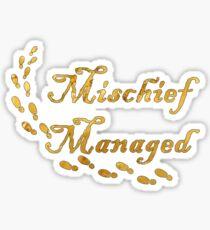 """Gold """"Mischief Managed"""" Sticker"""