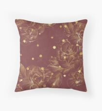 Elegant christmas - burgundy golden shine Throw Pillow