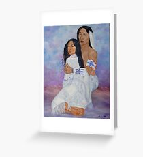 INDIAN BRAVE AND WOMAN OIL PAINTING 8X10 Greeting Card