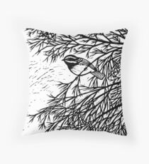 Black-throated Gray Warbler Throw Pillow