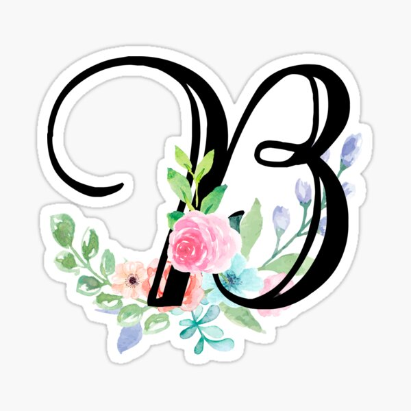 Girly Watercolor Floral Initial - B Sticker