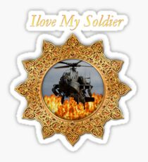 I lOVE My Soldier Army helicopter  Sticker