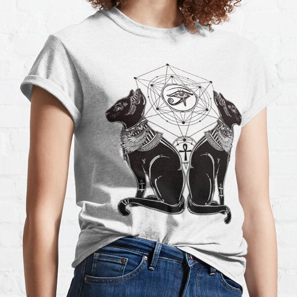 Egyptian Cats with Ankh and All-Seeing Eye of Horus Classic T-Shirt