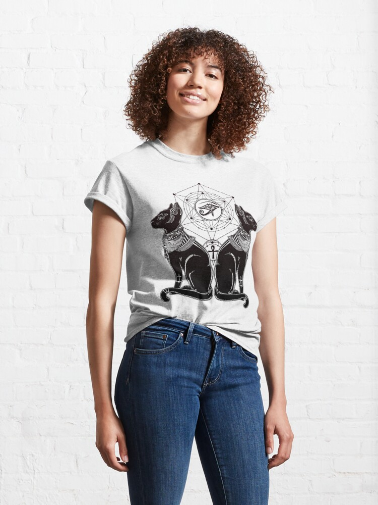 Alternate view of Egyptian Cats with Ankh and All-Seeing Eye of Horus Classic T-Shirt