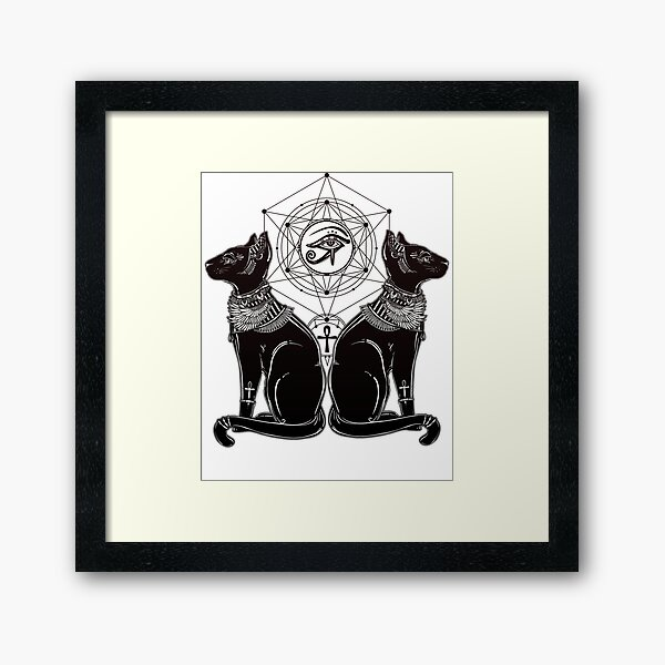 Egyptian Cats with Ankh and All-Seeing Eye of Horus Framed Art Print