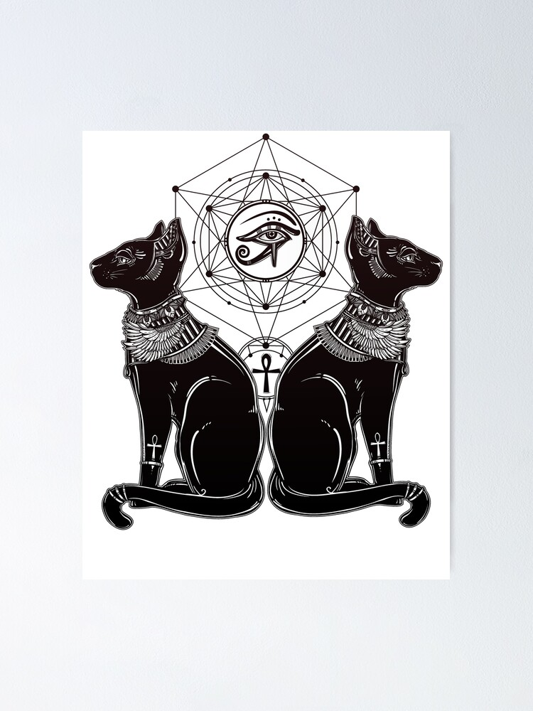 Alternate view of Egyptian Cats with Ankh and All-Seeing Eye of Horus Poster