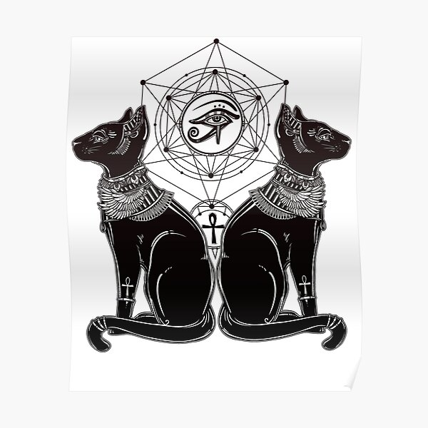 Egyptian Cats with Ankh and All-Seeing Eye of Horus Poster
