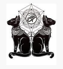 Ägyptische Katzen mit Ankh und Allsehendes Auge von Horus Fotodruck