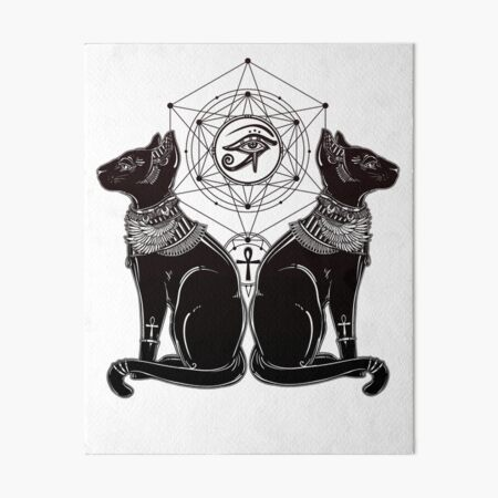 Egyptian Cats with Ankh and All-Seeing Eye of Horus Art Board Print