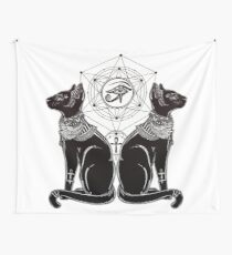 Egyptian Cats with Ankh and All-Seeing Eye of Horus Wall Tapestry