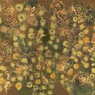 Golden meadow, abstract floral motif, fiber art by clipsocallipso
