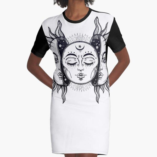 Vintage Sonnenfinsternis Sonne und Mond T-Shirt Kleid