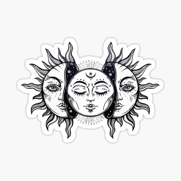 Vintage Solar Eclipse Sun and Moon Sticker