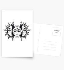 Vintage Sonnenfinsternis Sonne und Mond Postkarten