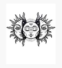 Vintage Sonnenfinsternis Sonne und Mond Fotodruck