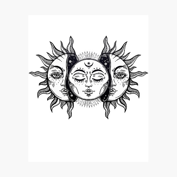 Vintage Solar Eclipse Sun and Moon Photographic Print