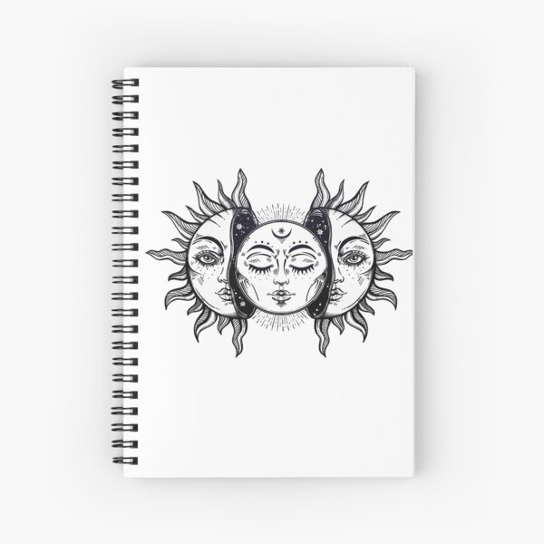 Vintage Solar Eclipse Sun and Moon Spiral Notebook