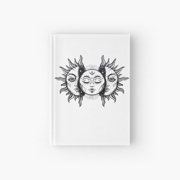 Vintage Solar Eclipse Sun and Moon Hardcover Journal