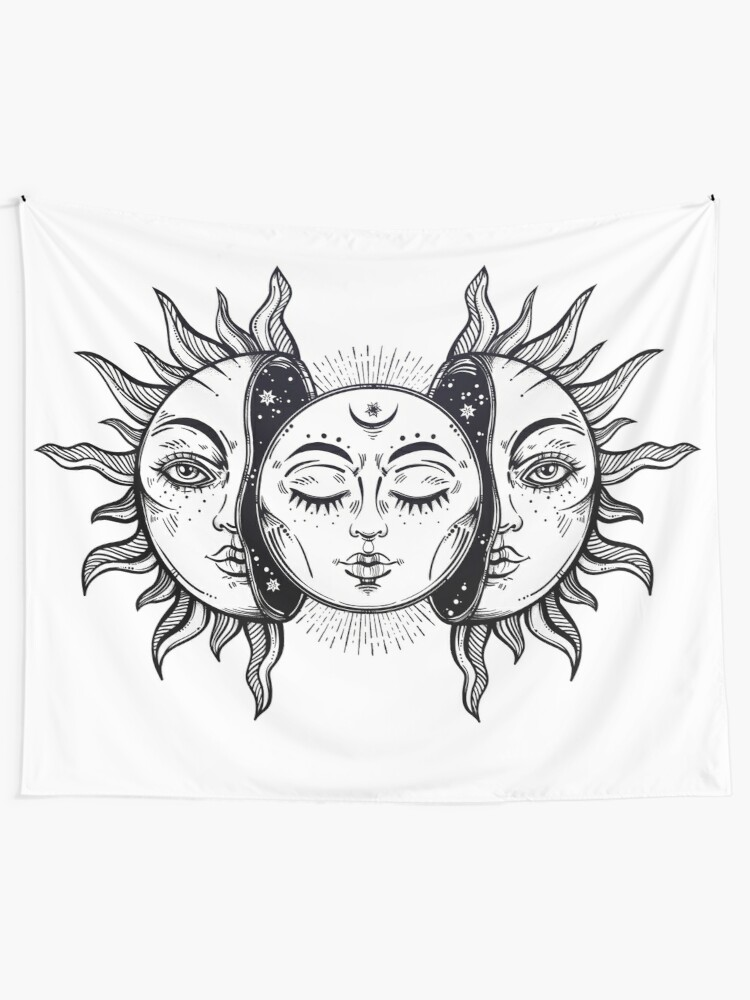 Alternate view of Vintage Solar Eclipse Sun and Moon Wall Tapestry