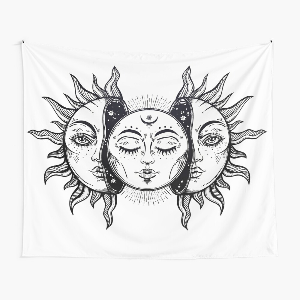 Vintage Solar Eclipse Sun and Moon Wall Tapestry