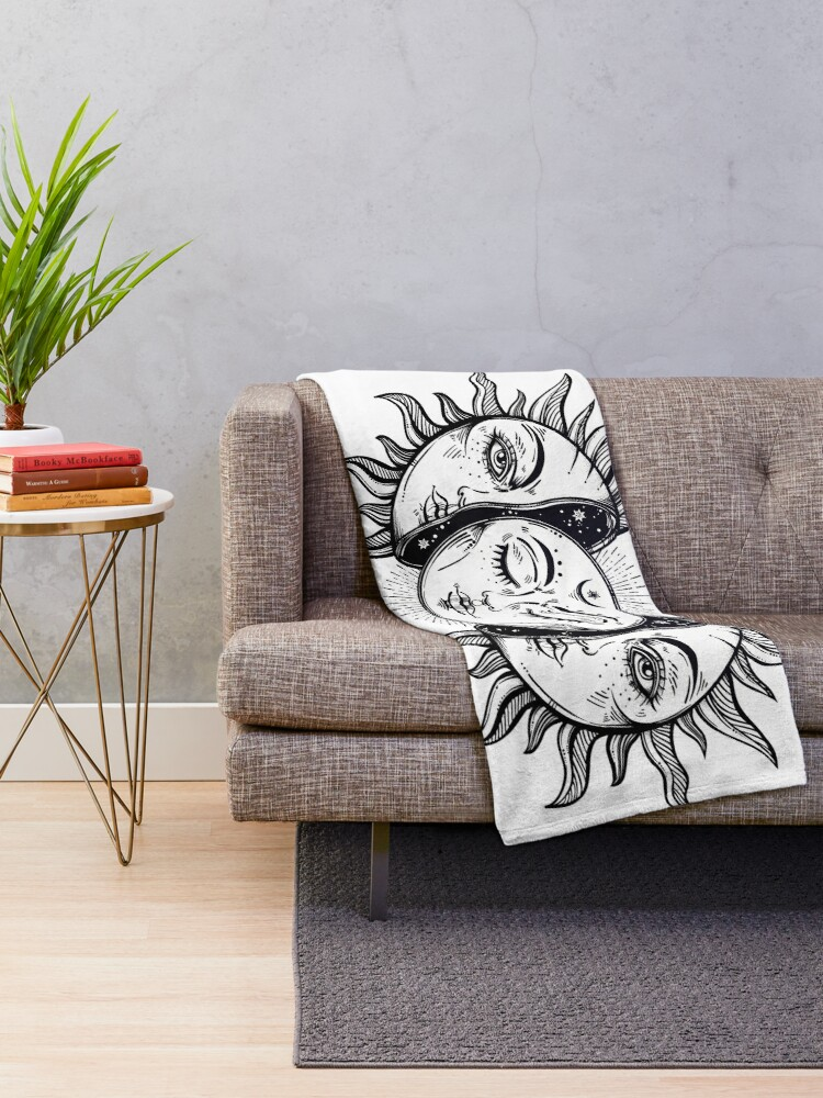 Alternate view of Vintage Solar Eclipse Sun and Moon Throw Blanket