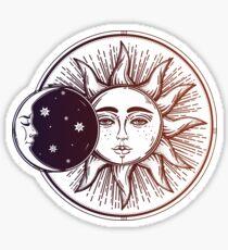 Vintage Solar Eclipse: Sun, Moon and Stars Sticker