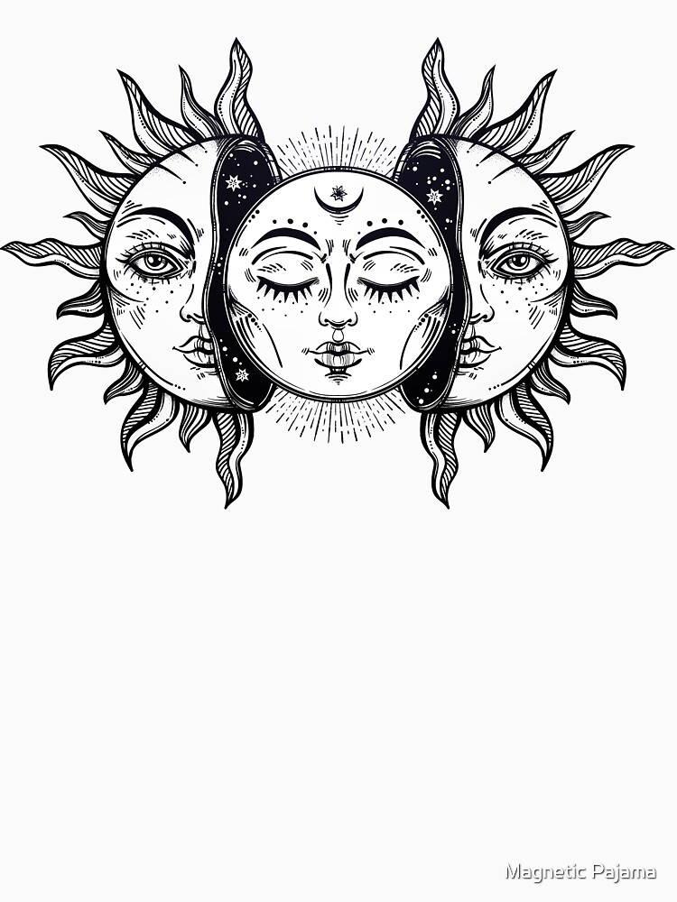 Vintage Solar Eclipse Sun and Moon by MagneticMama