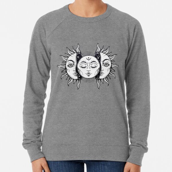Vintage Solar Eclipse Sun and Moon Lightweight Sweatshirt